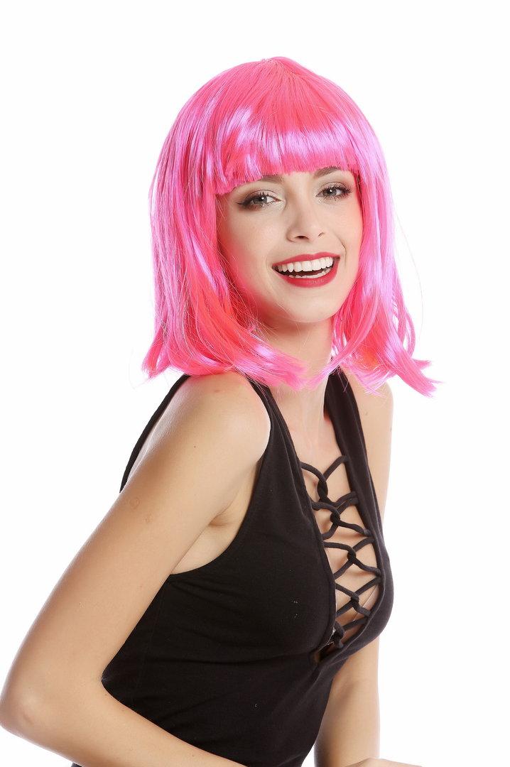 0073-3-PC5 Lady Wig Halloween Carnival Disco bob longbob shoulder length bangs pink WIG ME UP /®