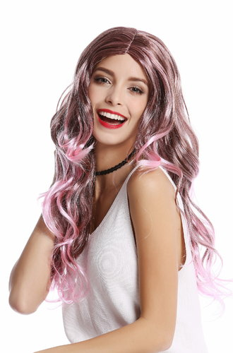 91377-ZA28BTZA33 Lady Wig Halloween Carnival long middle parting wavy highlights pink brown mixed