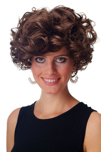 GFW963-10 Lady Man Quality Wig short curled wild parted voluminous lmedium brown