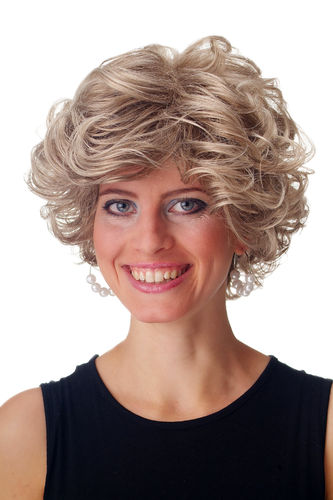 GFW963-18T22 Lady Man Quality Wig short curled wild parted voluminous light brown blond mix