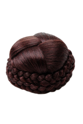 Hairbun Hairpiece knot braided plaited rim traditional custom mahogany brown mix red streaked