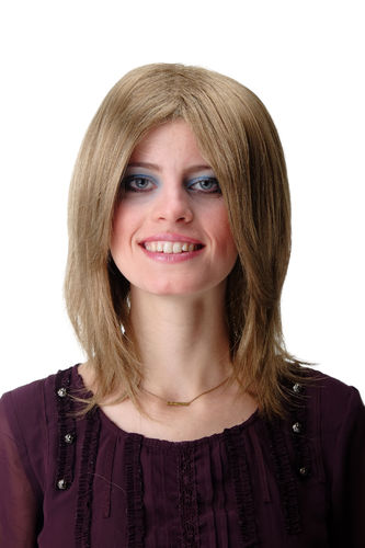 Quality Wig for Lady & Men Man cool shoulder length straight youthful Indie Rock Star light brown