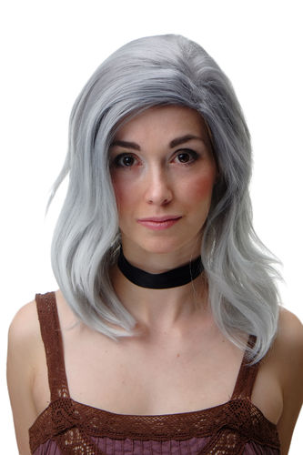 Wig Wild Parting Shoulder Length Grey Blue Mix