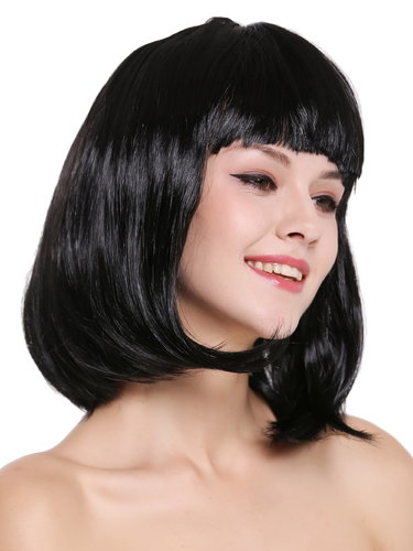Lady Wig Disco bob longbob shoulder length bangs black 0073-3-P103