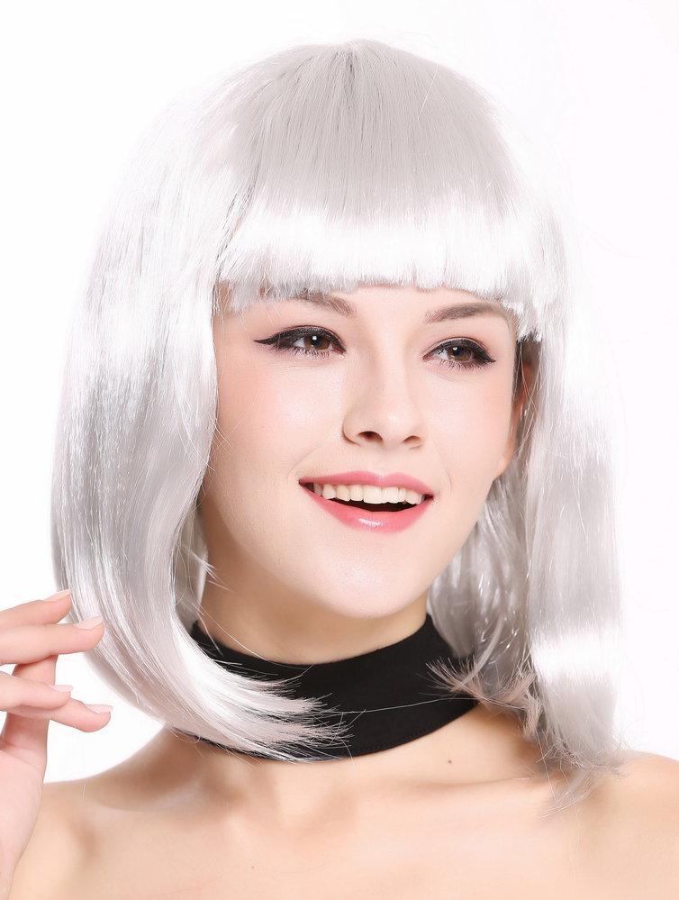Lady Wig Disco Bob Longbob Shoulder Length Bangs Silver Grey 0073 3 P309
