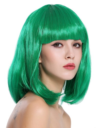 Lady Wig Disco bob longbob shoulder length bangs green 0073-3-PC18