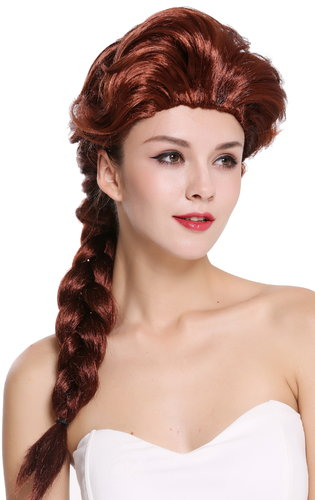 Baroque Lady Party Wig brown auburn long braided ponytail  051-P30
