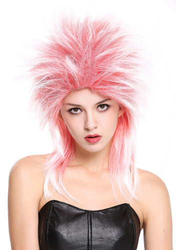 Men & Ladies Party Wig 80s Punk Wave Pop Star Red & White 90891-ZA13TZA60