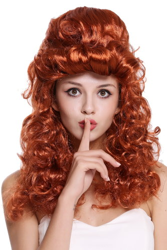 Wig Ladies Women Cosplay Baroque Renaissance Beehive bun long curls red  90904-ZA131