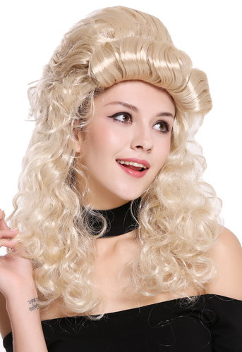 Wig Ladies Women Cosplay Baroque Renaissance Beehive bun long curls blond  90904-ZA83
