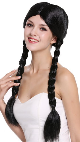 Lady Party Wig Fancy Dress black long braided pigtails queues girly Lolita Schoolgirl  90958-ZA103