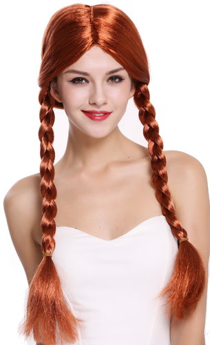 Lady Party Wig Fancy Dress red long braided pigtails queues girly Lolita Schoolgirl  90958-ZA131