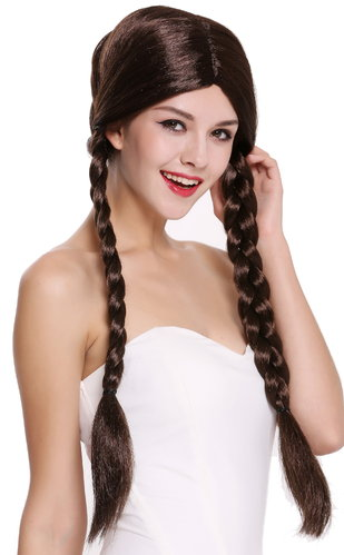 Lady Party Wig Fancy Dress brown long braided pigtails queues girly Lolita Schoolgirl  90958-ZA4