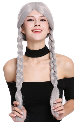 Lady Party Wig Fancy Dress grey gray long braided pigtails queues girly 90958-ZA68E