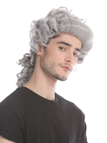 Man Gents Lady Party Wig Baroque noble aristocrat lord curls long ponytail grey gray 91019-ZA68E