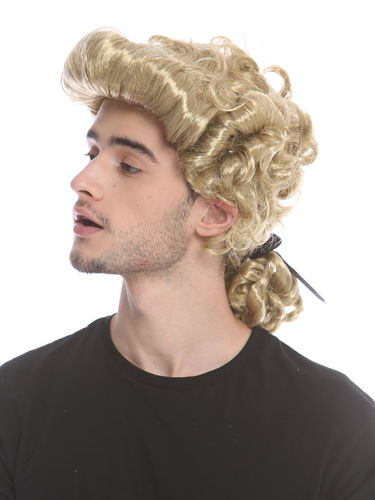 Man Gents Lady Party Wig Baroque noble aristocrat lord curls long ponytail blond 91019-ZA89