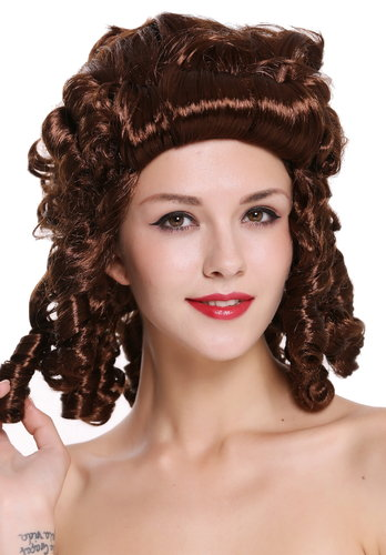 Lady Party Wig Baroque Renaissance Colonial Era mahogany brown curls coils strands 91022-ZA33