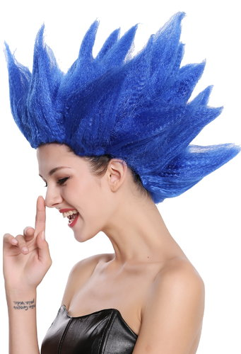 Lady Gents Man Party Wig Fancy Dress Demo Flower Fairy Pixie blue teased high 91062-PC3