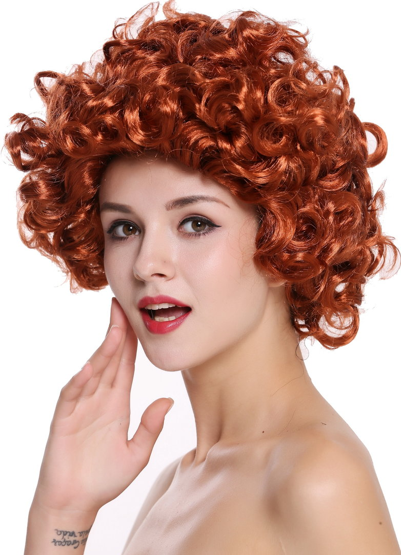Lady Party Wig Fancy Dress Red Shoulder Length Curly 80s Soap Star 91074 Za131