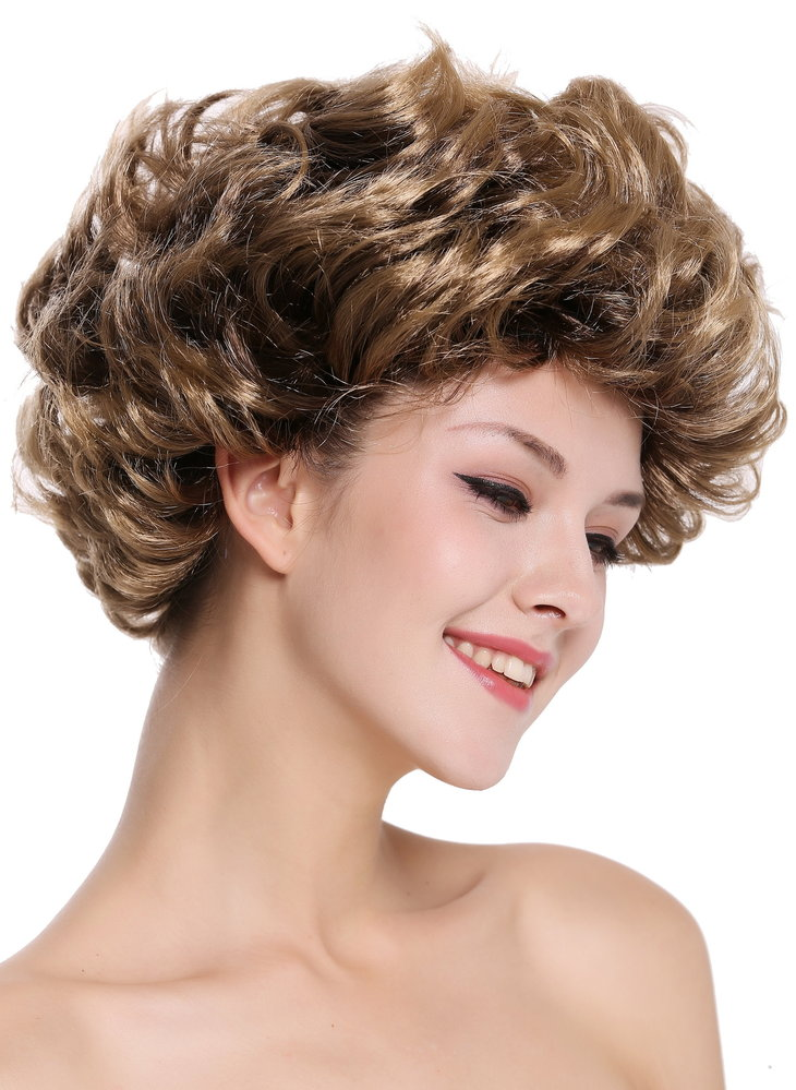 Lady Party Wig Short Curled Retro 80s Older Lady Style Brown Blond