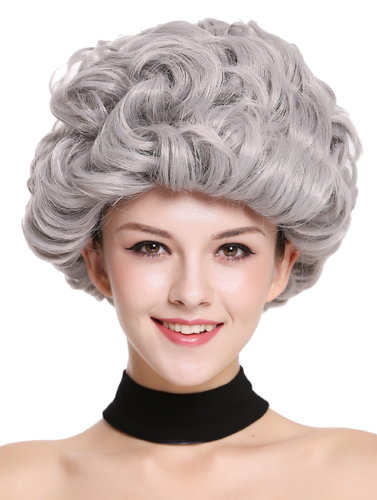 Lady Party Wig grey gray curls curly full volume Granny old older High Society Dame  91097-ZA68E