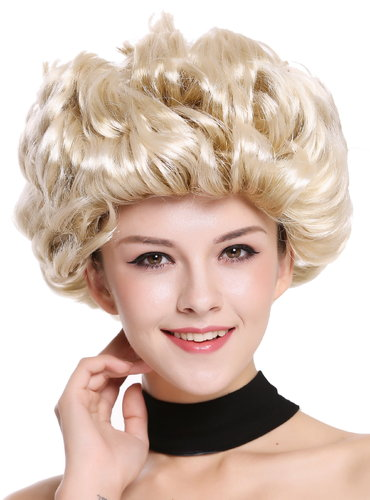 Lady Party Wig short curled retro 80s older lady style blond highlights tips 91097-ZA89TZA88