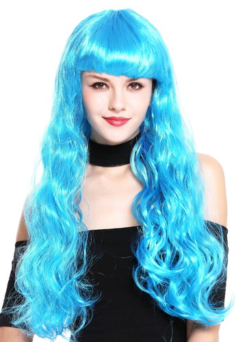Lady Party Wig very long slightly curled wavy bangs fringe blue  91571-ZA40