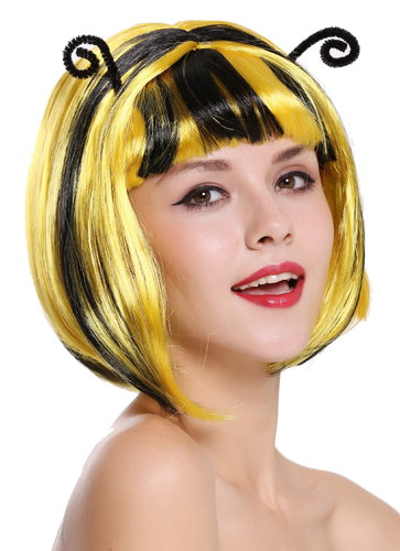 Lady Party Wig Bumble Bee yellow black stripes streaked antennas  91575-ZA2B+ZA103