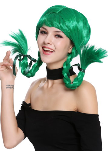 Wig Lady Women Cosplay Naughty Sassy Lolita stiff braided plaits green bangs DDH-T8175-PC18