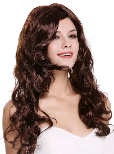 Lady Party Wig Cosplay long wavy to curly seductive mahogany brown sexy parting Diva DEC37-ZA33