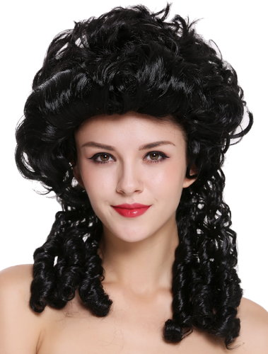 Lady Wig historic Cosplay Baroque Victorian black noble court spiral curls ringlets DH1009-ZA103