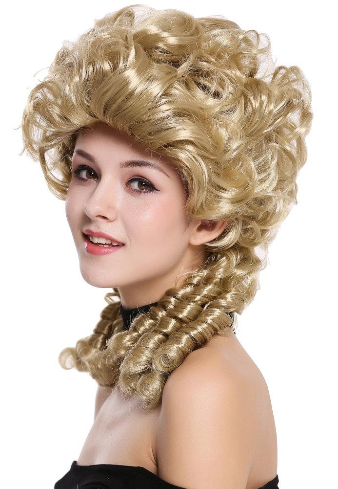 Perücke Damen Karneval Halloween Barock Renaissance lang Spirallocken weiß Zöpfe