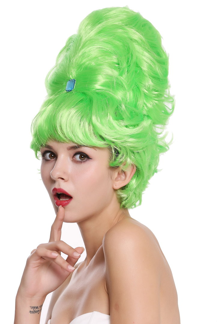 Lady Party Wig Towering Beehive Baroque 60s Hairdo Light Green Mh