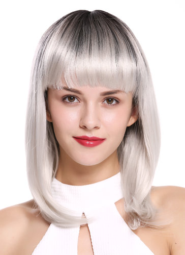Lady Quality Wig short shoulder length Bob Longbob sexy bangs fringe straight black white Ombre 15""