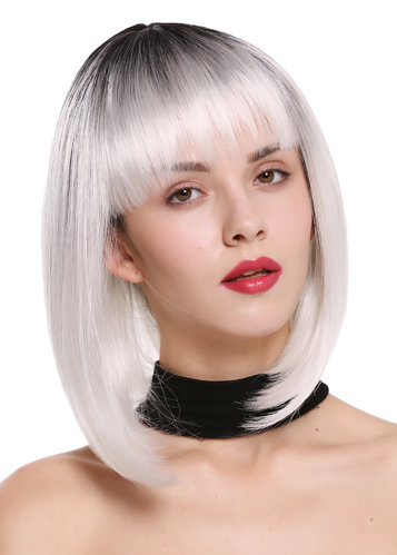Lady Quality Wig Bob Longbob short smooth straight fringe bangs ombre mix black white