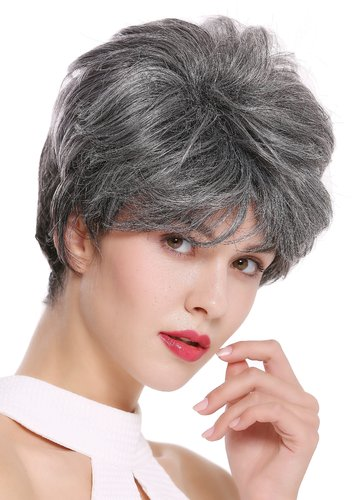 DW2461-DF1202 Lady Gents Man Quality Wig short teased voluminous dark gray mix streaked