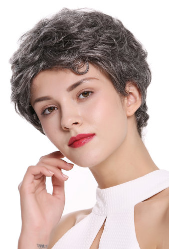 DW2339-44 Lady Gents Men Quality Wig short slight wave wavy dark gray