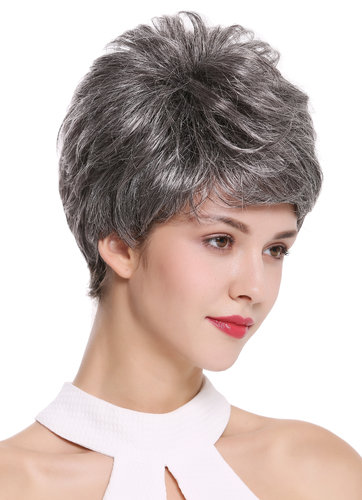 DW2461-44 Lady Gents Man Quality Wig short teased voluminous dark gray mix