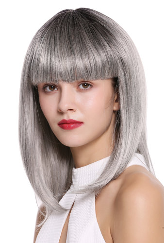 Quality Wig short shoulder length Bob Longbob sexy bangs fringe straight black gray Ombre mix 15""