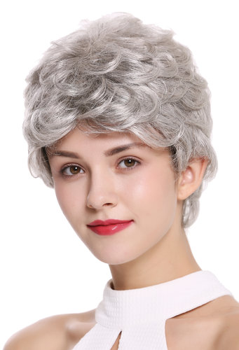 DW2339-51 Lady Gents Men Quality Wig short slight wave wavy silvery gray