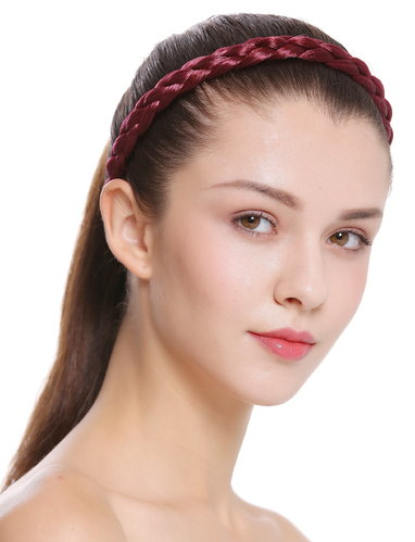 CXT-006-120 band hair loop Alice band plaited traditional 1 inch wide red