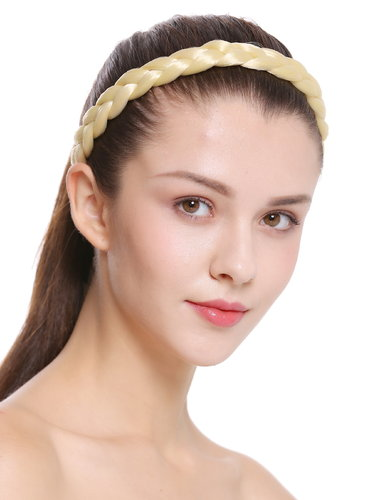 CXT-007-026 hair band hair loop Alice band plaited traditional 1 inch wide braid light blonde