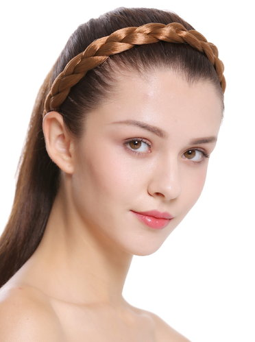 CXT-007-341 hair band hair loop Alice band plaited traditional 1 inch wide braid dark blonde