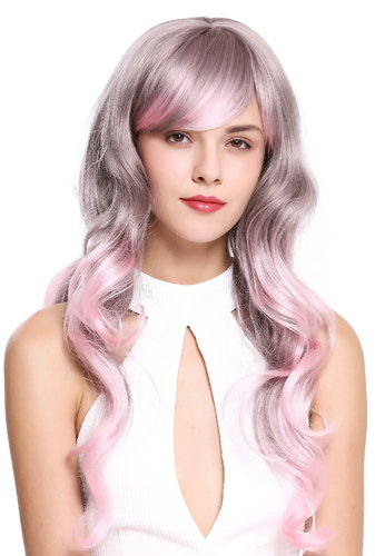 ZM-1666 Fairytale Lady Quality Cosplay Wig long wavy gray pink mix