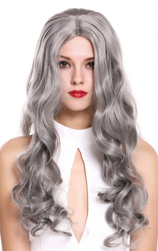 6070-701 Lady Quality Wig long wavy middle-parting silvery gray