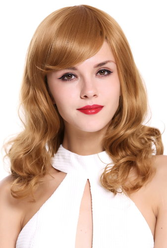 LHT-13-27 Lady Quality Wig medium lengh straight curled tips ringlets strawberry blond