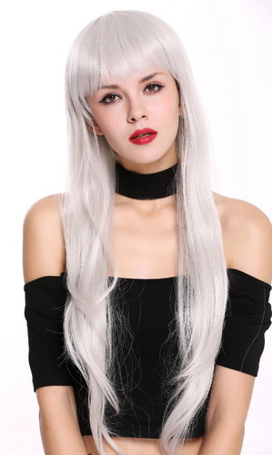 S000D75-MD60 Lady Quality Wig Cosplay long fairytale style fairy bangs fringe grayish white