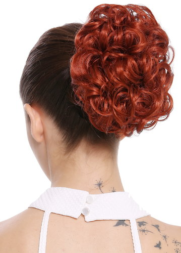 Dutt Locken Volumen Zopf kurz Rot Q0147-350