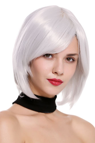 SA091 Lady Quality Cosplay Wig short bob longbob parting straight grayish white