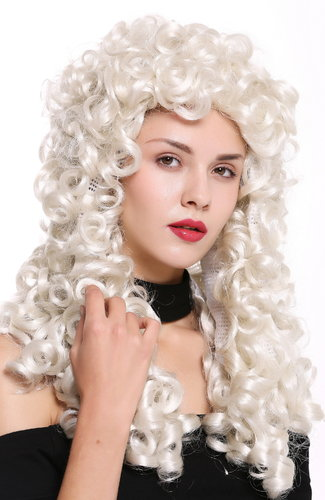 Quality wig women men baroque renaissance king nobleman long curls curly white white- blonde